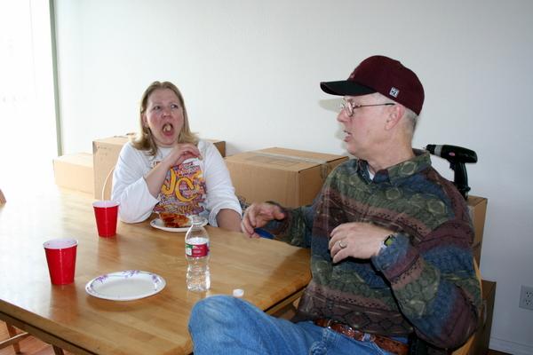 """Kathy eating """"see-food""""."""